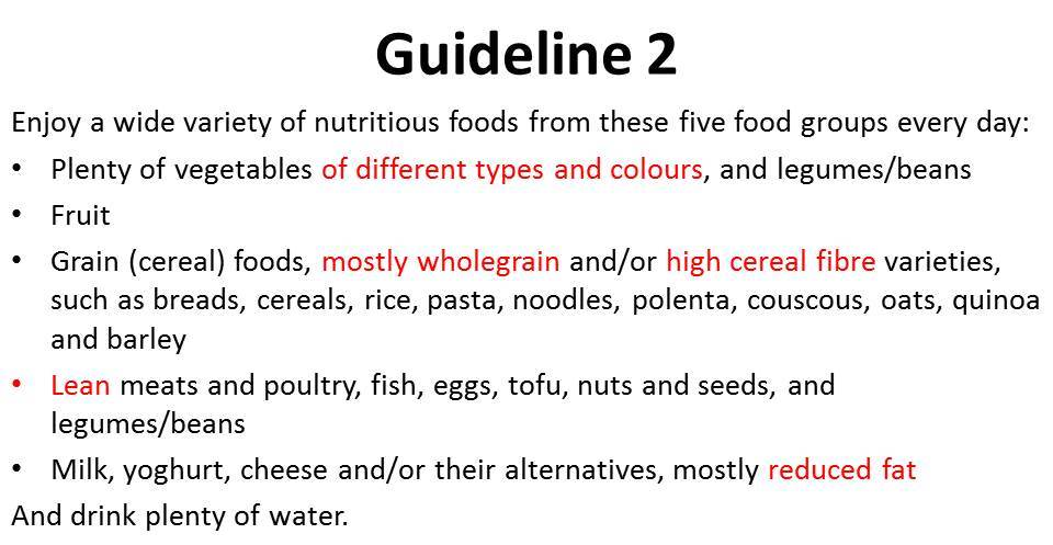 Adults dietary guidelines